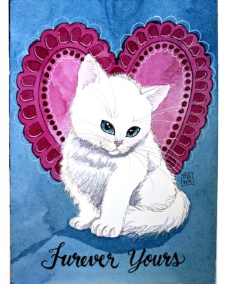 Valentine Kitten in watercolor