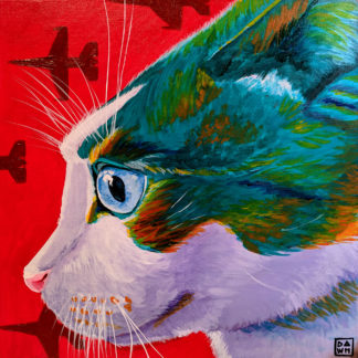 Loki Zoomies acrylic cat painting by Dawn Pedersen