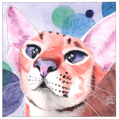 """""""Bubbly Pang"""" cat ink painting"""