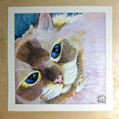 """BB Blue Eyes"" original ink and Inktense mounted on wood panel"