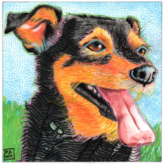 """Bodhi, Panting"" original ink and Inktense"