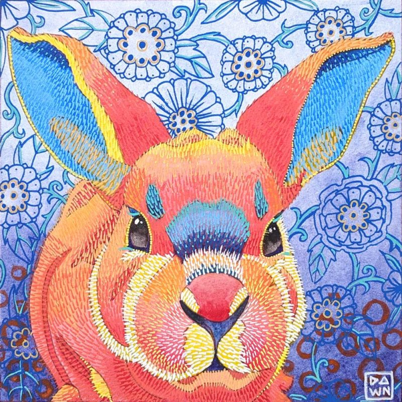 """Bunny Willow"" mixed media painting"