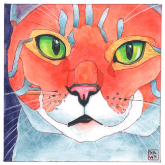 Claudia cat ink painting by Dawn Pedersen
