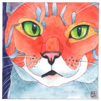 Claudia cat ink painting by Dawn Pedersen