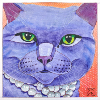 """Graycie in Pearls"" cat ink painting, final by Dawn Pedersen"