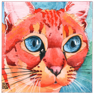 Latte Petite original cat ink painting