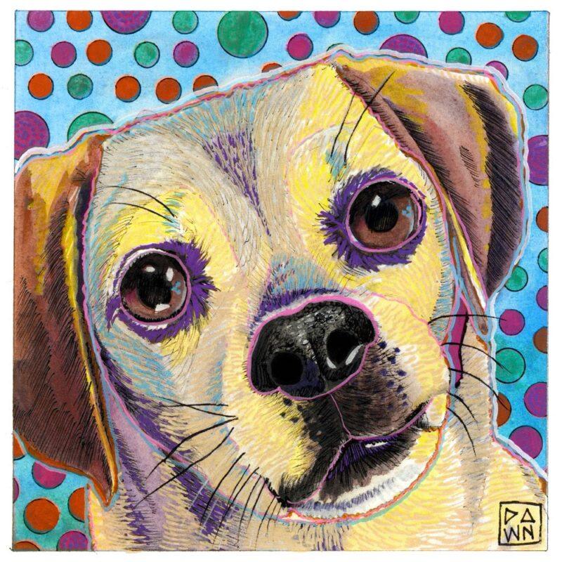 """""""Luna Gaze"""" dog ink painting"""