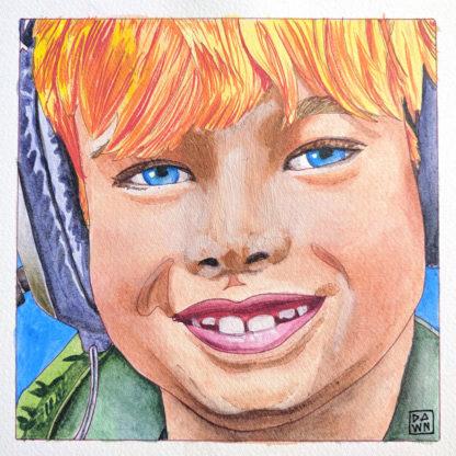 """""""Theo in Headphones"""" child ink portrait"""