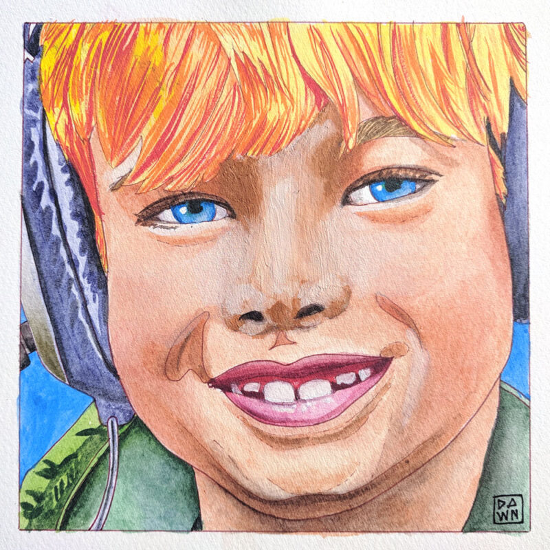 """Theo in Headphones"" child ink portrait"