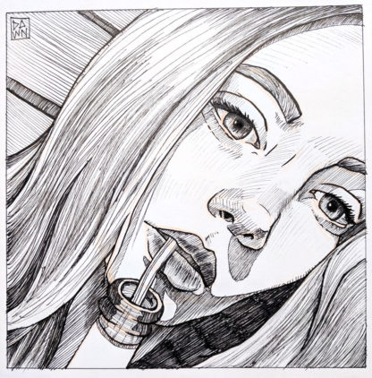 Sktchy portrait: Woman with Straw