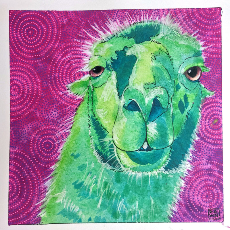 """""""Larry the Llama"""" ink painting final"""
