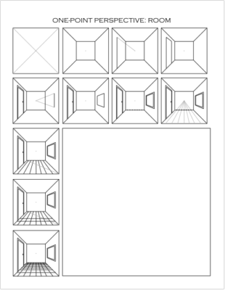 Drawing One-Point Perspective Worksheet: Room