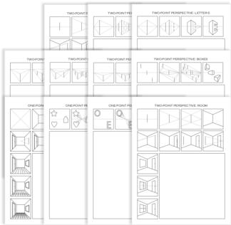 Drawing Perspective Worksheet Bundle