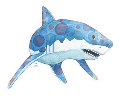 """Bubblegum"" great white shark watercolor painting"