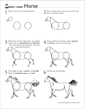 How to Draw a Horse Worksheet front
