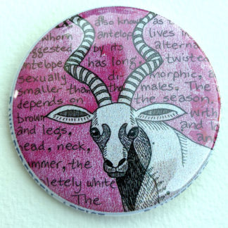 "Addax antelope 2.25"" Button Pin"