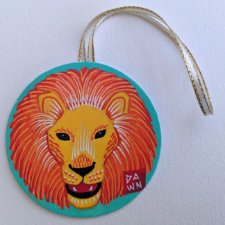 African lion hand-painted ornament with ribbon