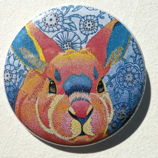 "Willow rabbit bunny 2.25"" Button Pin"