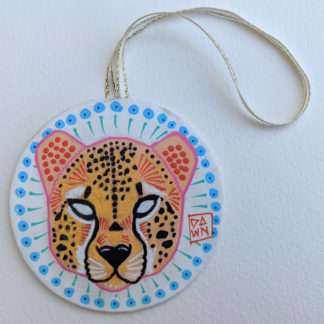 Cheetah hand-painted ornament with ribbon