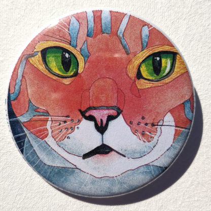 "Claudia cat 2.25"" Button Pin"
