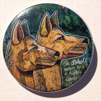 """Dholes dogs 2.25"""" Button Pin"""