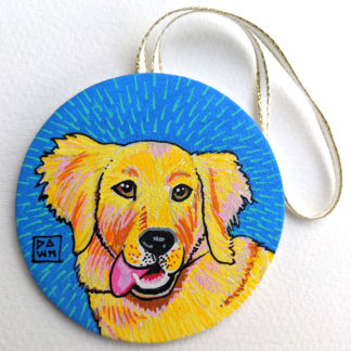 Dog 1 hand-painted ornament with ribbon