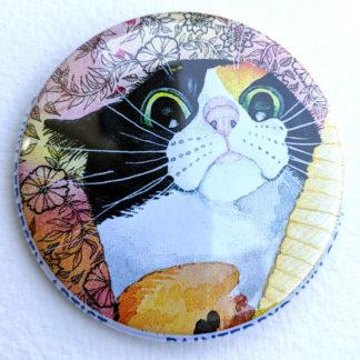 "Mollie cat 2.25"" Button Pin"