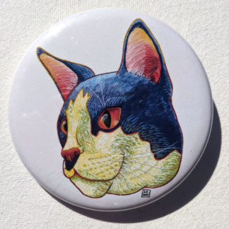 "Garth cat 2.25"" Button Pin"