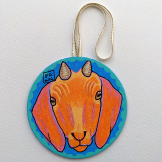 Goat hand-painted ornament with ribbon
