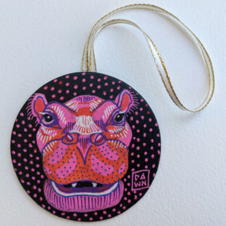 Hippo hand-painted ornament with ribbon
