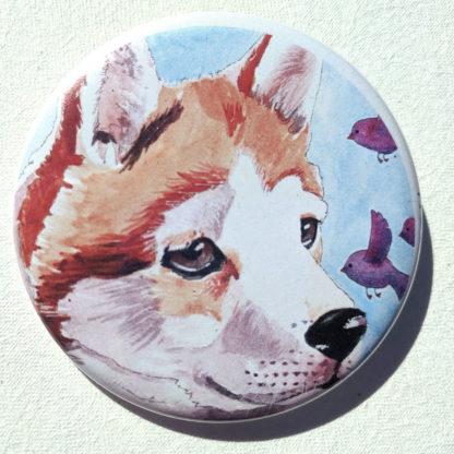 """Josie dog 2.25"""" Button Pin"""