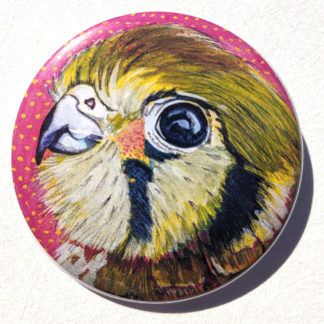 "Kestrel bird 2.25"" Button Pin"
