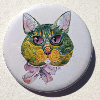 "Kuniko cat 2.25"" Button Pin"