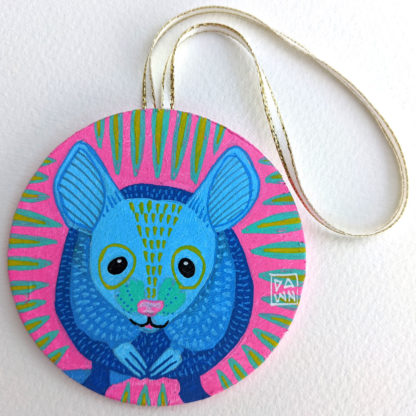 Mouse hand-painted ornament with ribbon