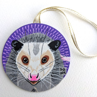 Opossum hand-painted ornament with ribbon