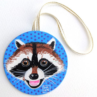 Raccoon hand-painted ornament with ribbon