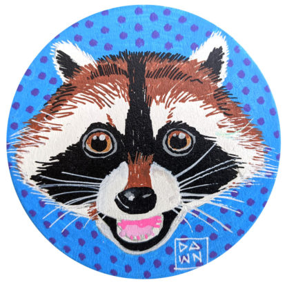 Raccoon hand-painted ornament