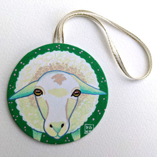 Sheep hand-painted ornament with ribbon