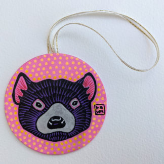 Tasmanian devil hand-painted ornament with ribbon