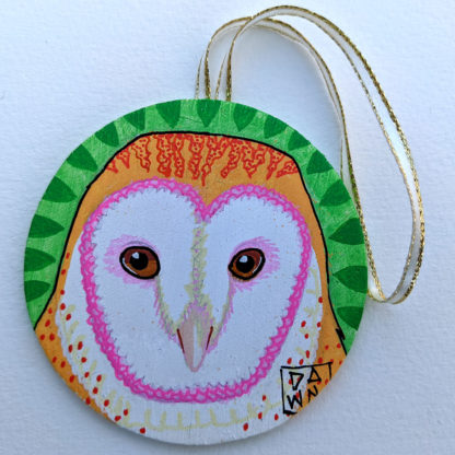 barn owl ornament with ribbon