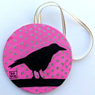crow 1 ornament with ribbon