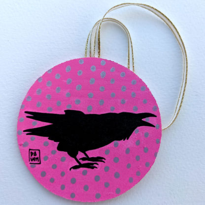 crow 2 ornament with ribbon