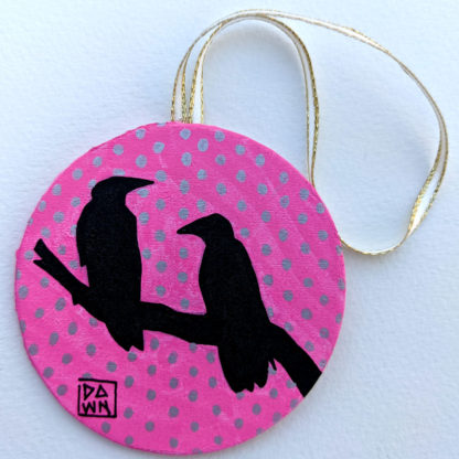 two crows ornament with ribbon