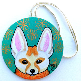 fennec fox ornament with ribbon