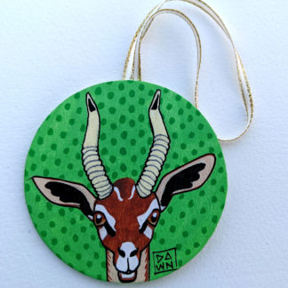 gerenuk antelope ornament with ribbon