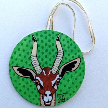 gerenuk antelope ornament with ribbon