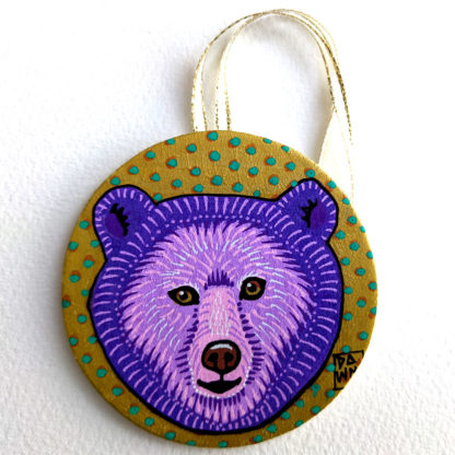 grizzly bear ornament with ribbon