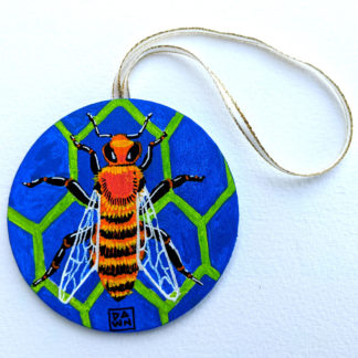 honeybee ornament with ribbon