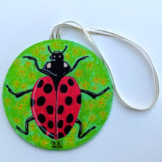 ladybug 2 ornament with ribbon