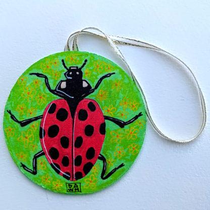 ladybug 2 ornament with ribbon